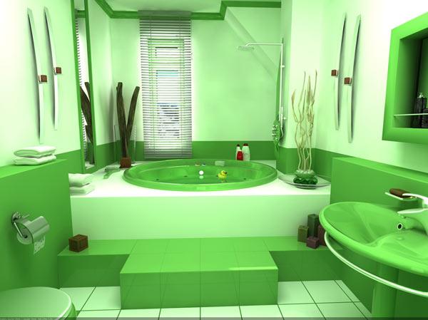 Очень красиво смотрится ванная комната оформленная в зеленых тонах