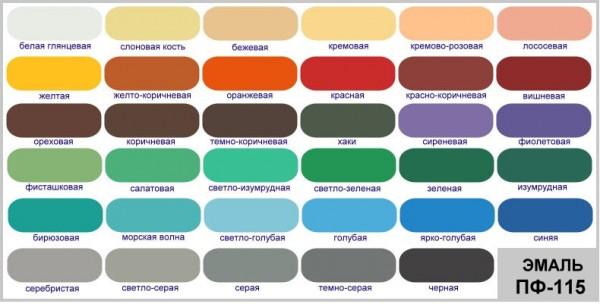 Алкидная эмаль ПФ-115 цвета