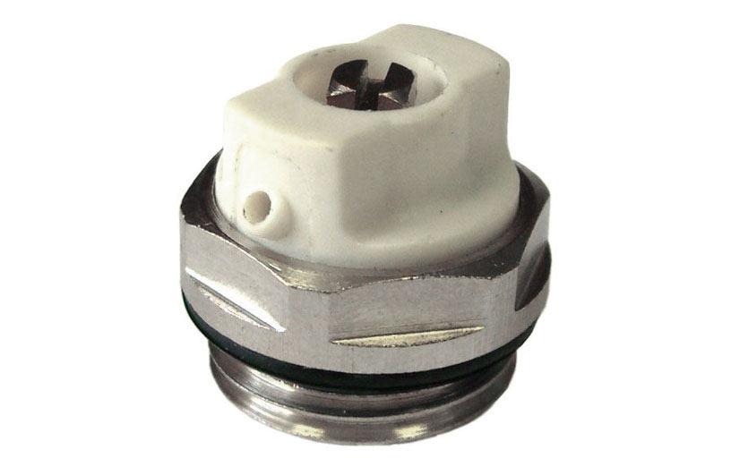 Самый распространенный вид крана Маевского. Как правило, именно такие устройства устанавливаются на на алюминиевые и биметаллические радиаторы отопления
